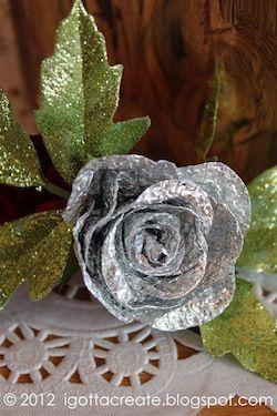 flores de papel de aluminio