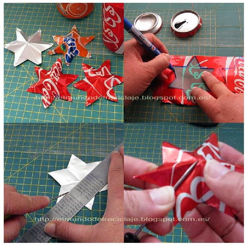 Resultado de imagen de estrellas de navidad con latas refresco