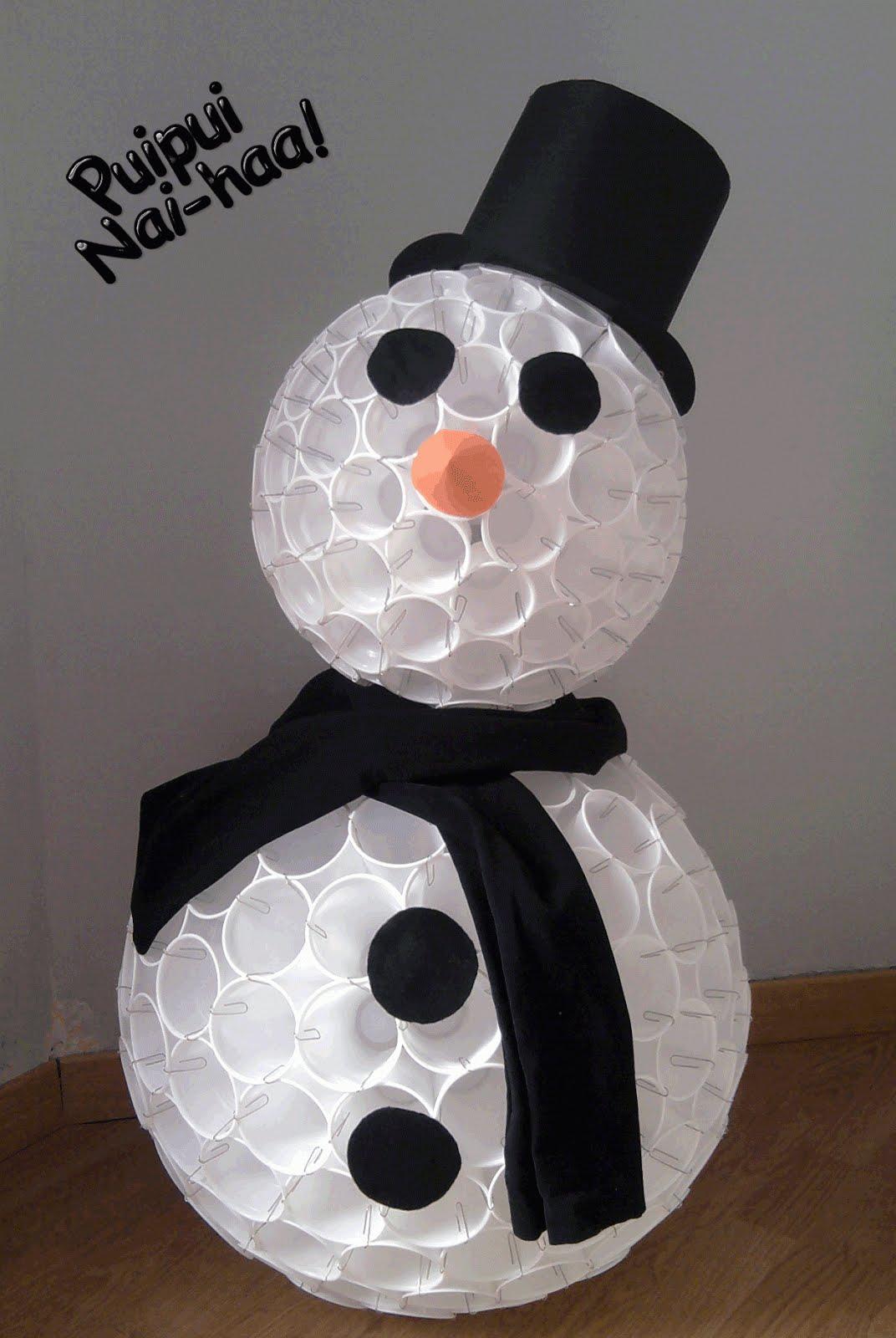 Resultado de imagen de Muñecos de nieve con vasos de plástico