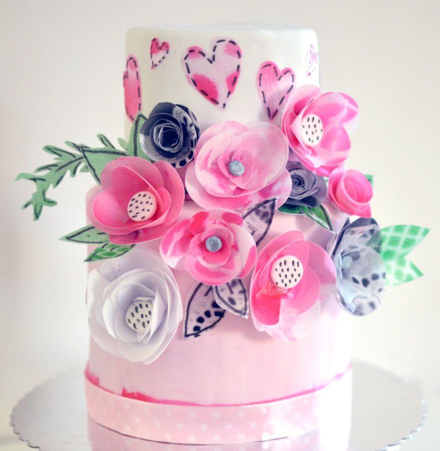 pastel de flor de papel de arroz