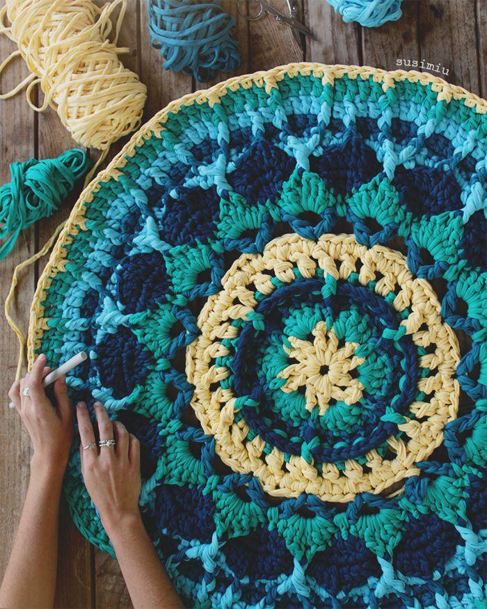 alfombras de ganchillo de lana