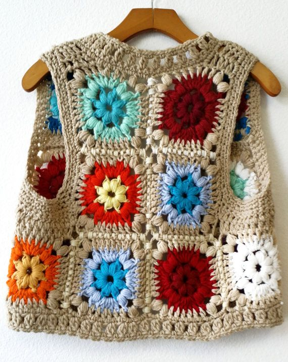 chalecos de crochet hippies