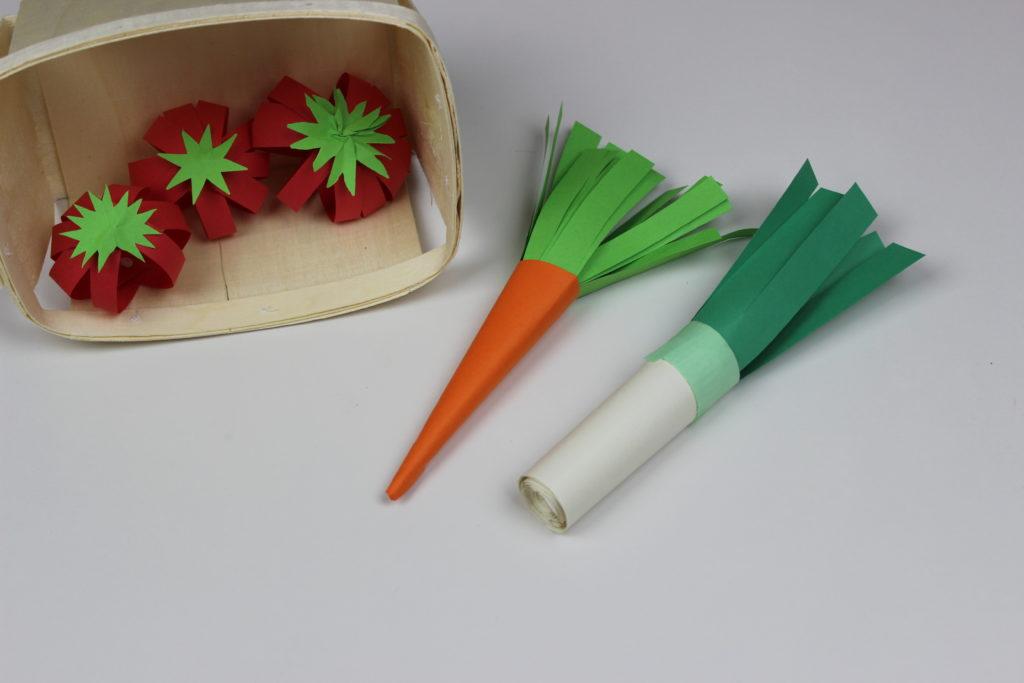 como hacer verduras con papel
