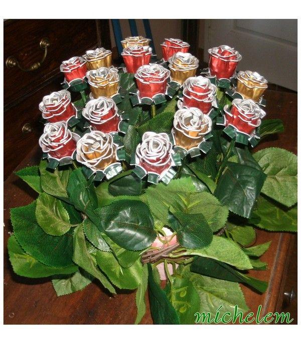 ramo de rosas con cápsulas nespresso