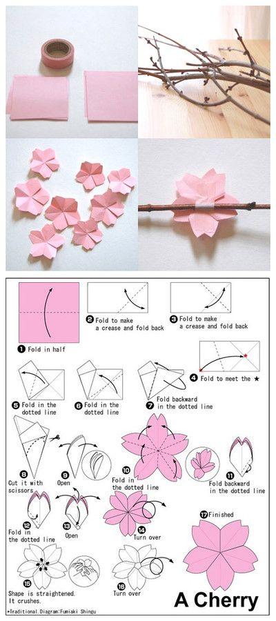 Flores de cerezo de papel