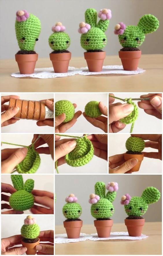 cactus kawaii de ganchillo