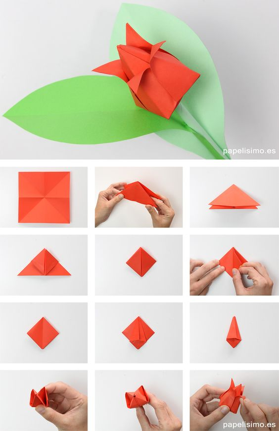 tulipan de origami de papel