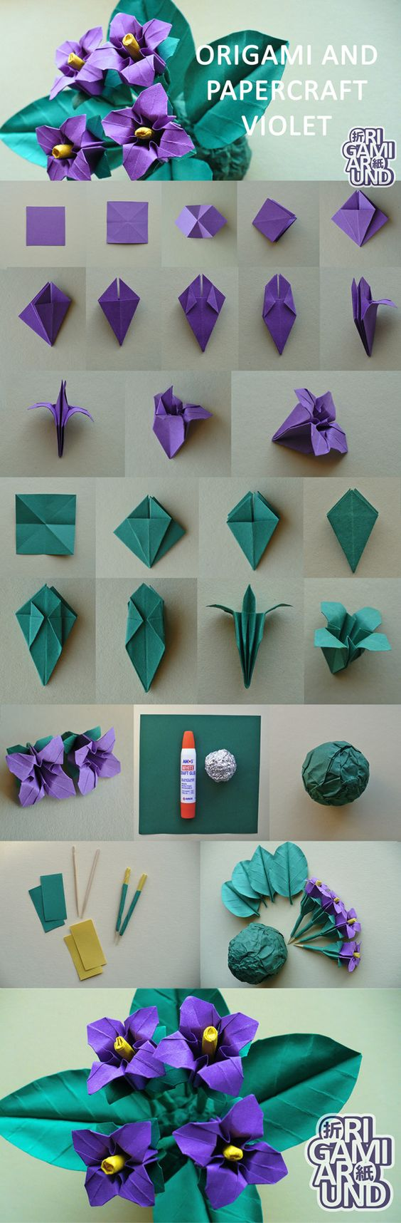 violetas de papel