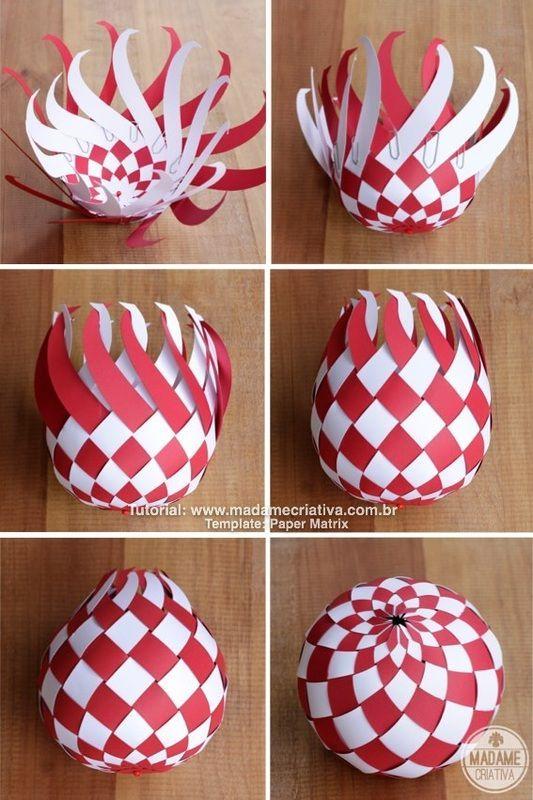 bolas de navidad con papel trenzado