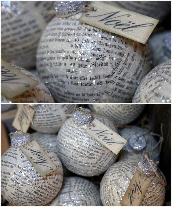 bolas de navidad con papel