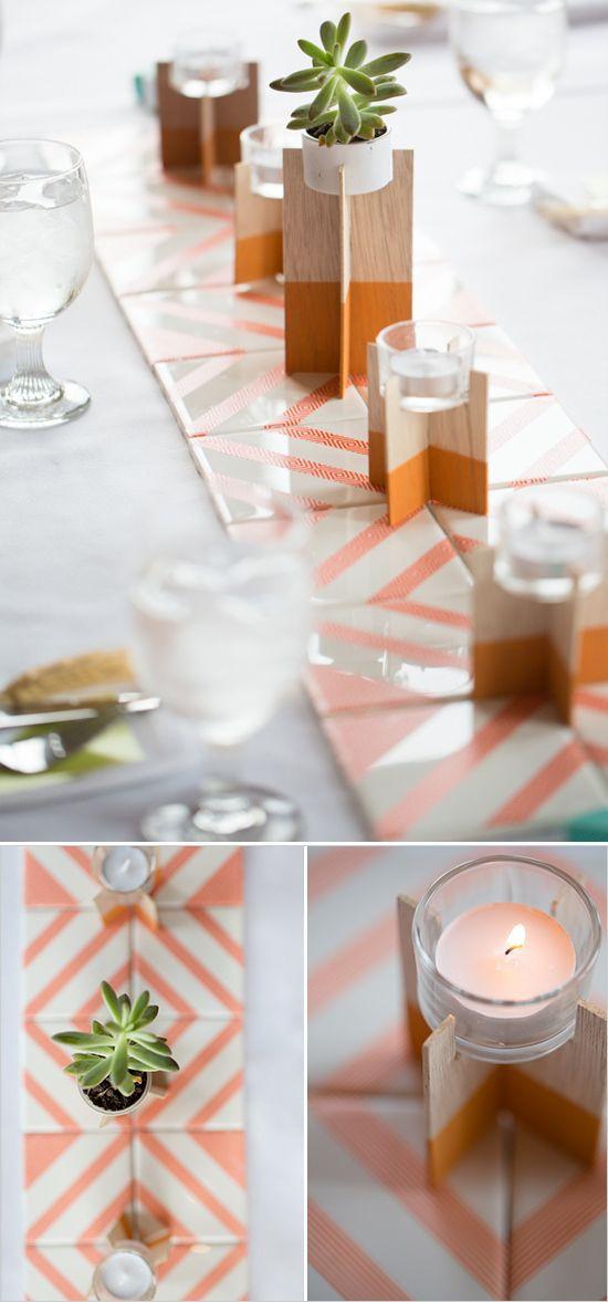 centro de mesa de boda con washitape