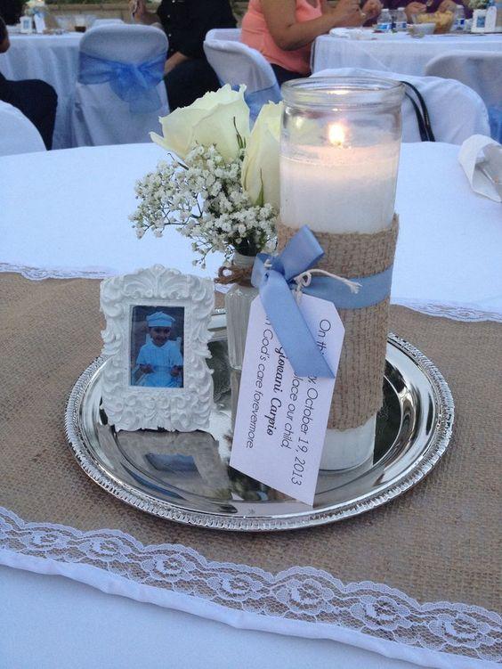 centros de mesa de comunión con velas