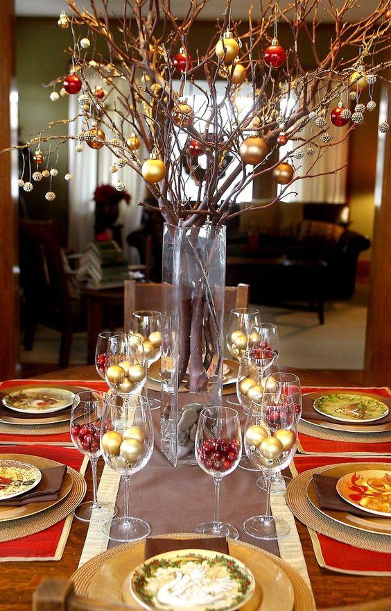 centros de mesa de navidad con ramas