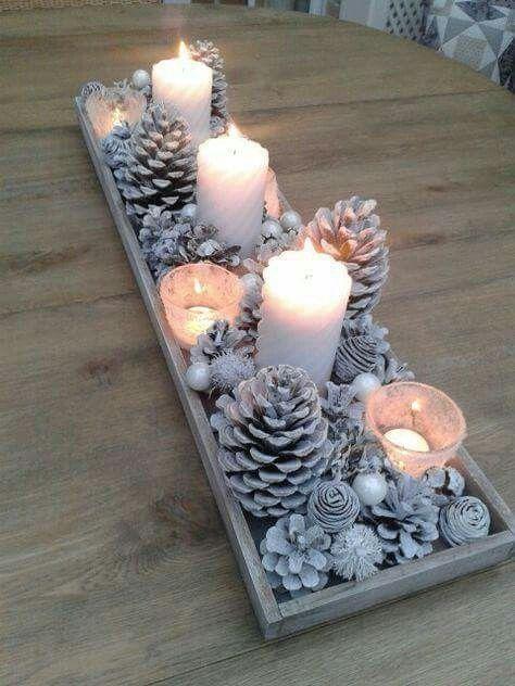 centros de mesa navideños con piñas