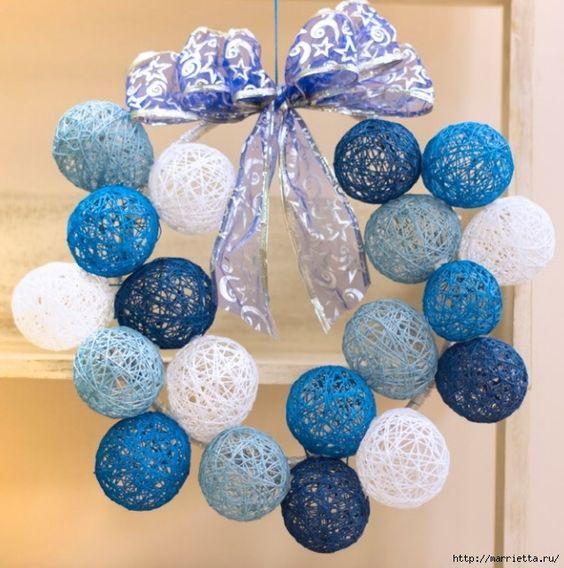 como hacer bolas de navidad con lana