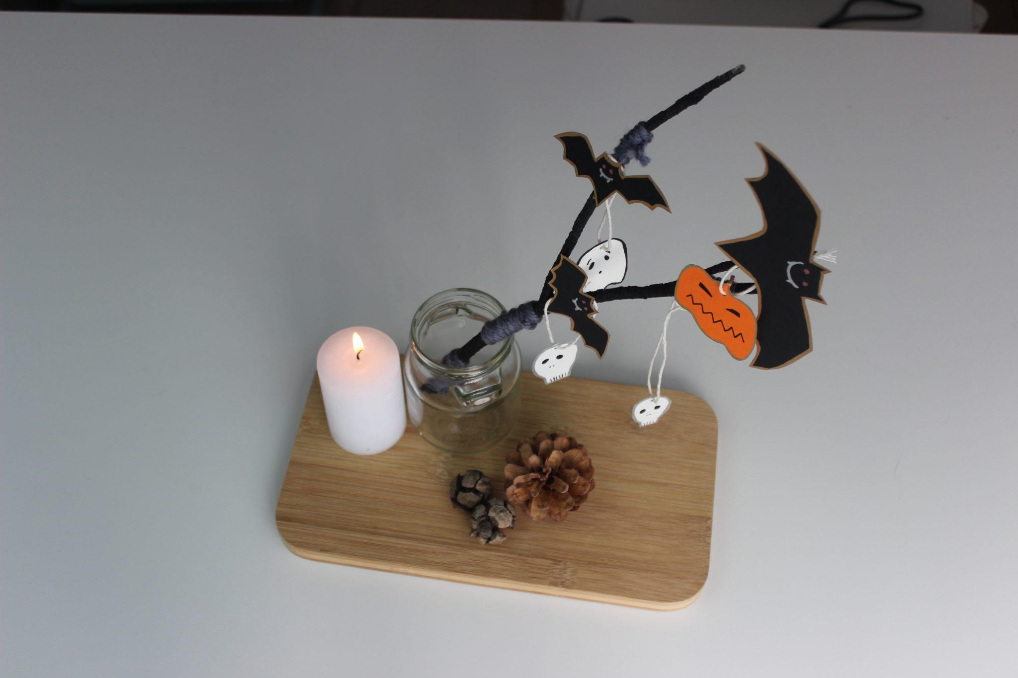 como hacer un centro de mesa de halloween facil