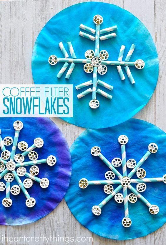 copos de nieve con pajitas