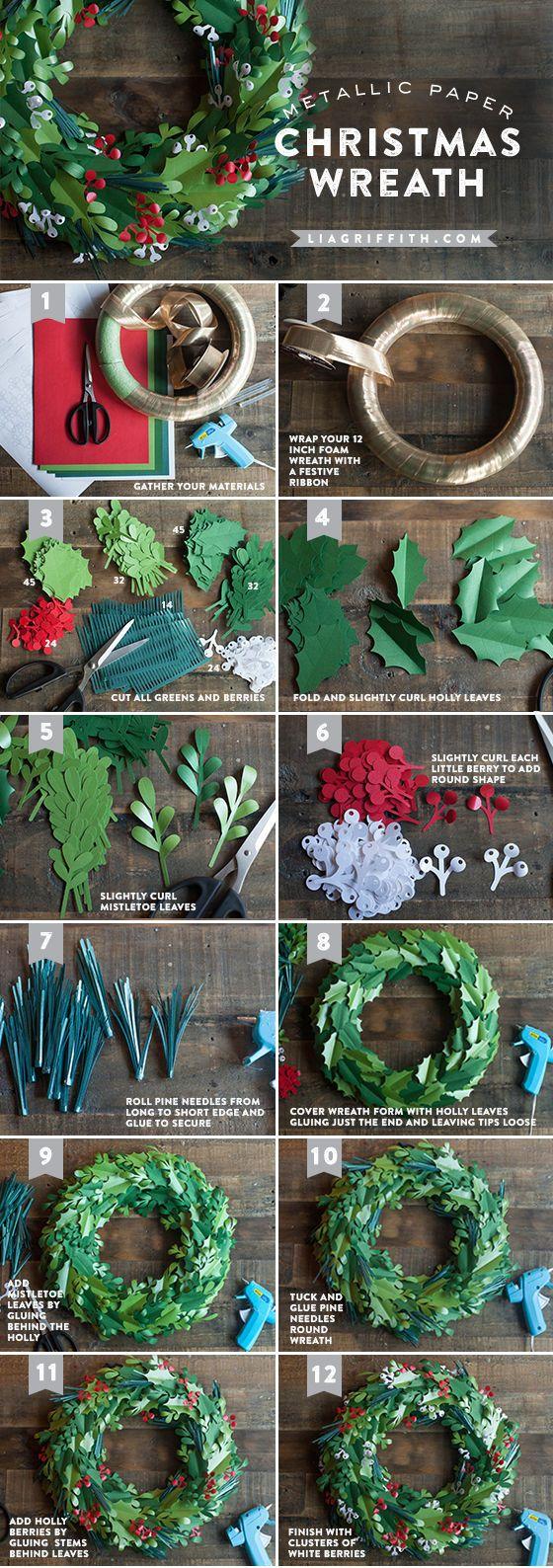 coronas de papel de navidad