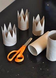 coronas infantiles con tubos de carton