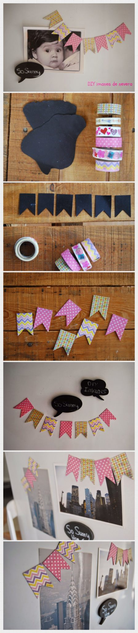 decorar fotos de bebes con cintas washi