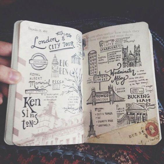 dibujar en albums de scrap de viaje