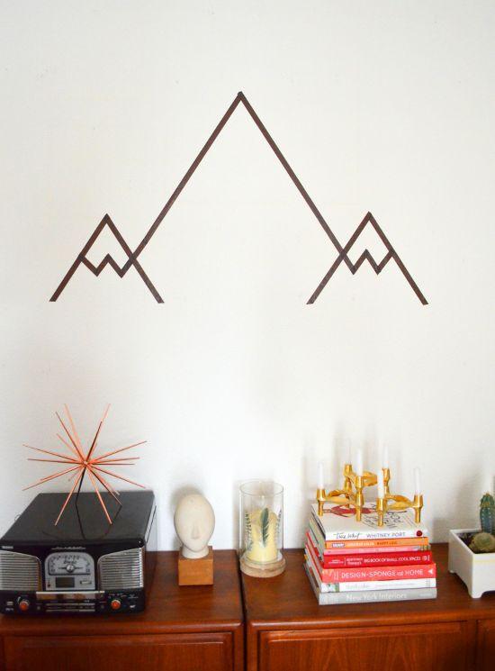 dibujar montañas con washi tape