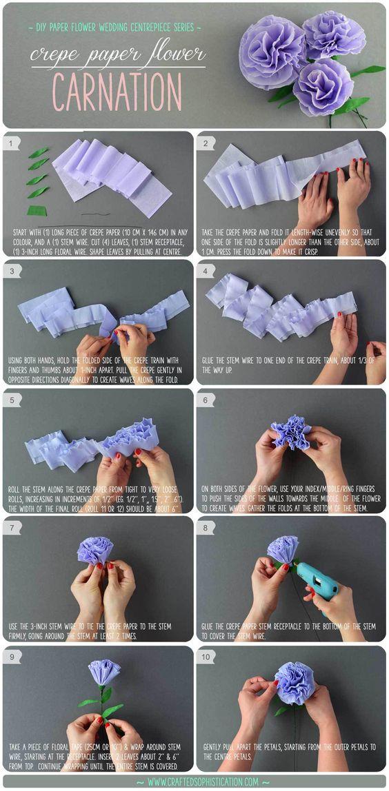 flores de papel de navidad con papel crepe