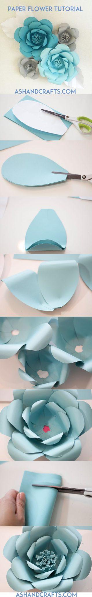 flores de papel gigantes paso a paso