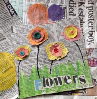 Flores de papel para niños