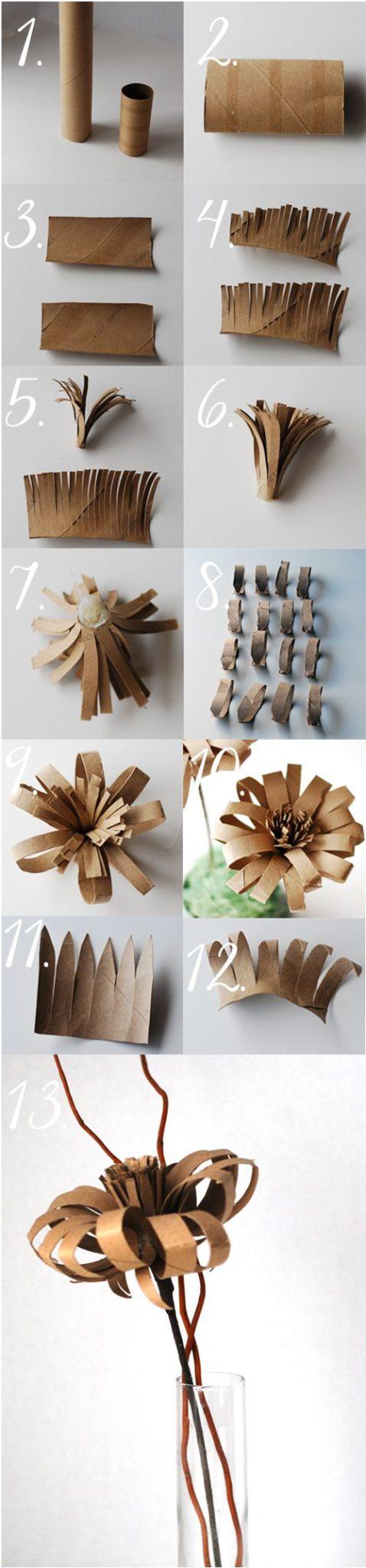 flores de papel vintage recicladas