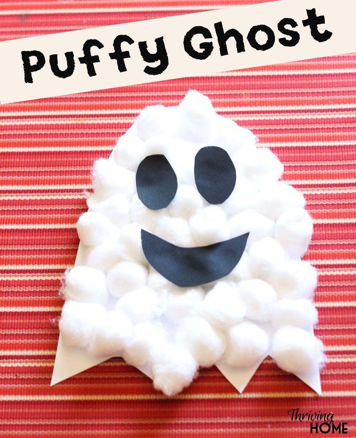 manualidad de fantasma de halloween infantil