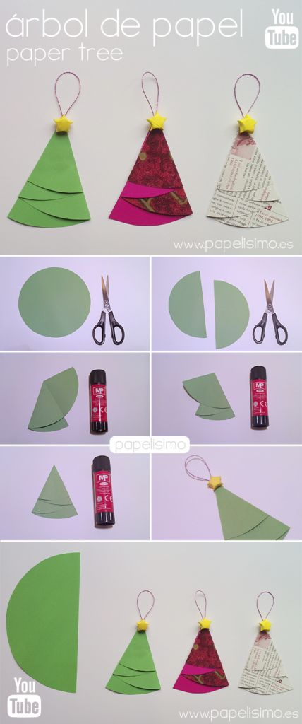 manualidades de papel para el arbol de navidad