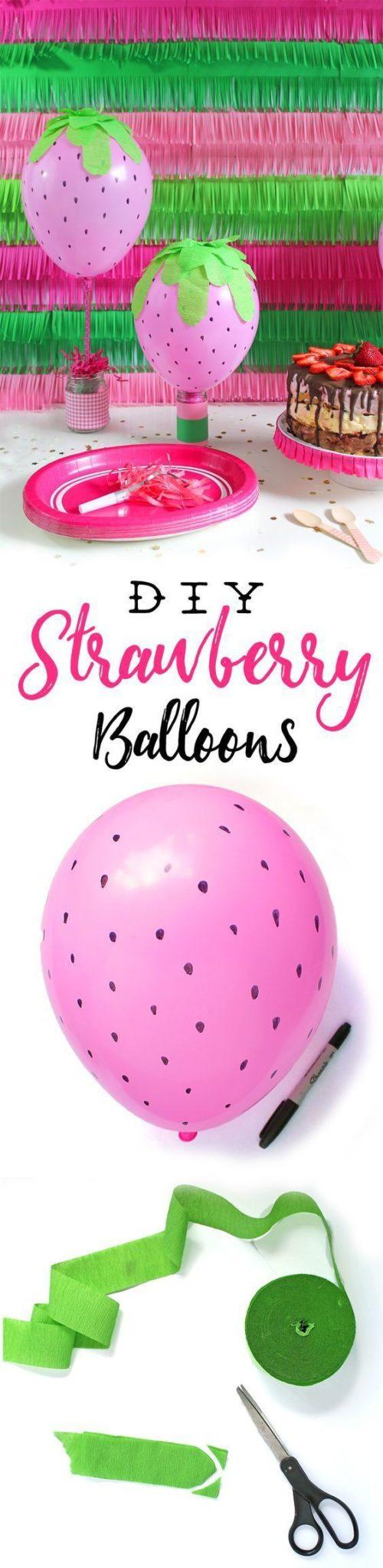 manualidades para fiestas infantiles con globos de fresas