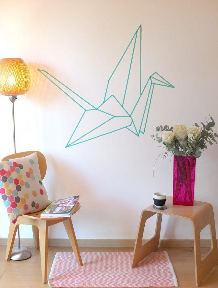 pajaros de origami con washitape para la pared