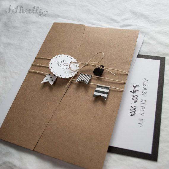 postal de boda con washitape