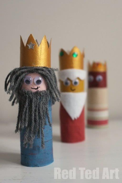 reyes magos con carton para niños