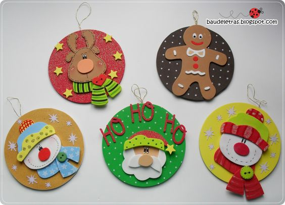 adornos navideños de foamy