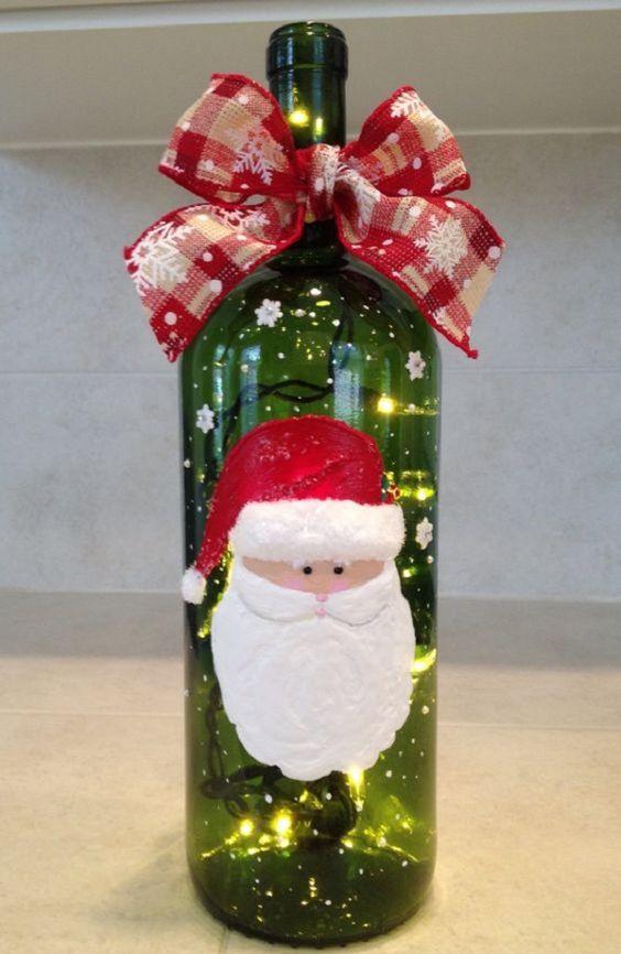 decorar botellas de navidad