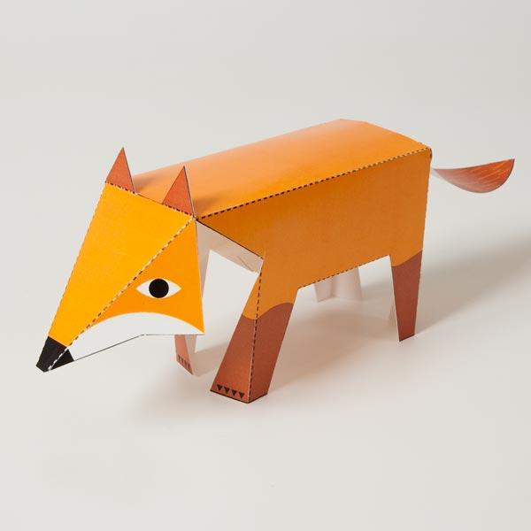kirigami de zorro de papel