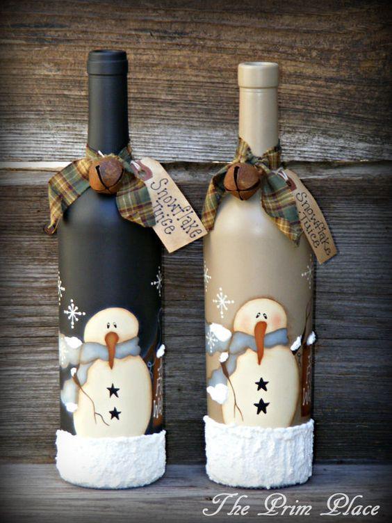 manualidad navideña con botellas de cristal