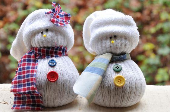 muñecos de navidad con calcetines