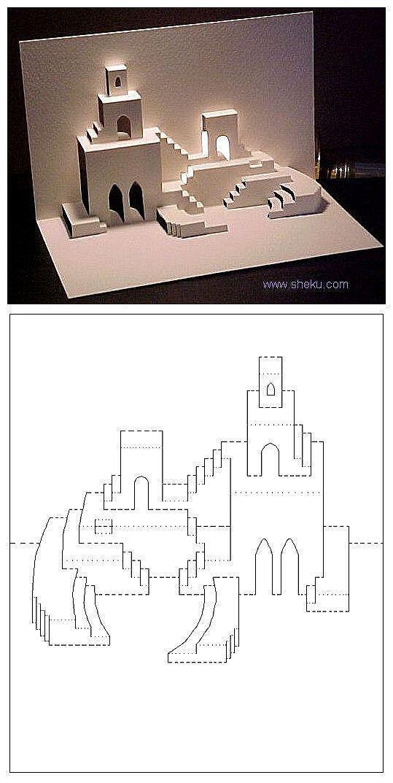 tarjetas kirigami popup arquitectonicas