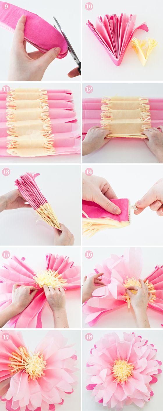 Cómo hacer flores de papel crepe para bodas paso a paso