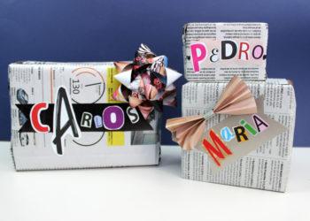 envolver regalos con papel de periodico