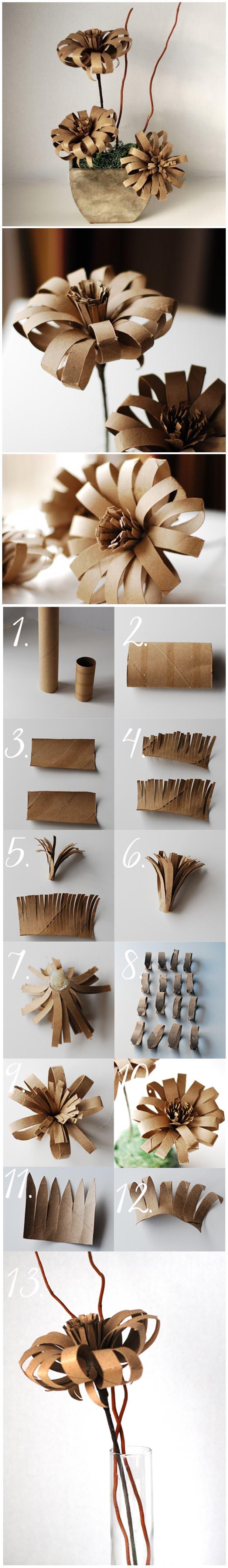Flor de rollos de papel higienico paso a paso