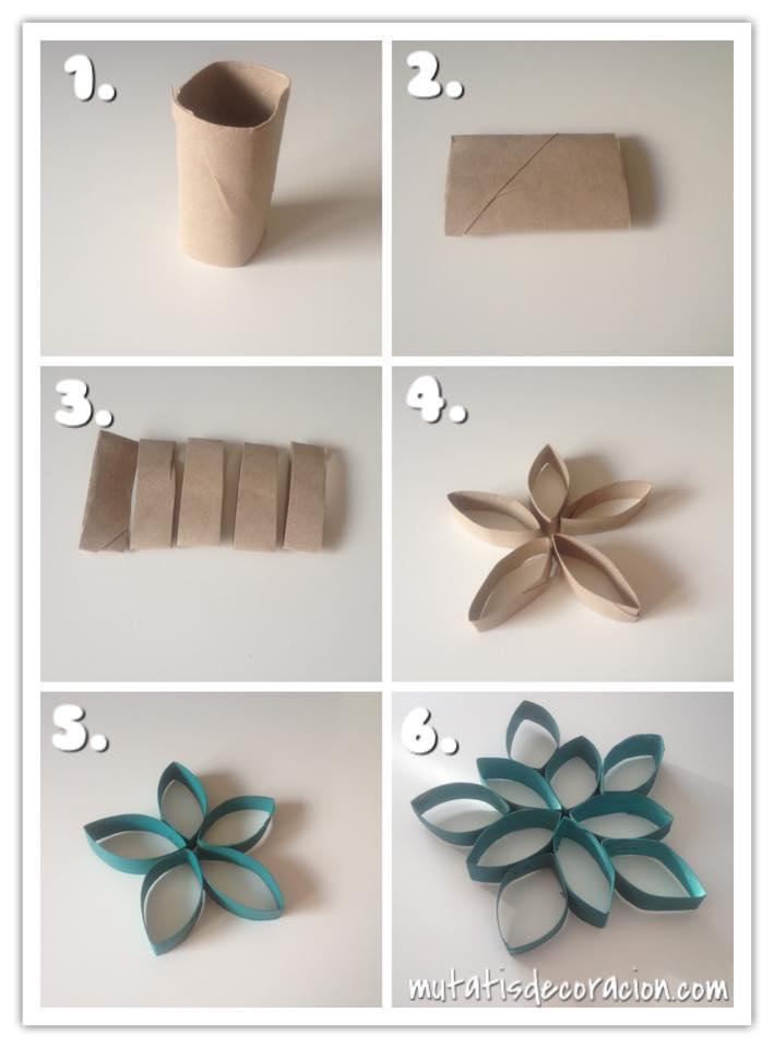 Flores con rollos de papel higienico navidad