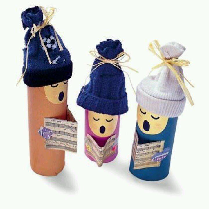 Manualidades infantiles de Navidad con rollos de WC para niños