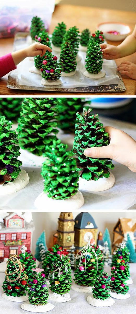 manualidades para hacer árboles del belén con piñas