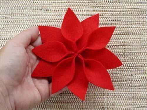 servilleteros de fieltro de flor de pascua