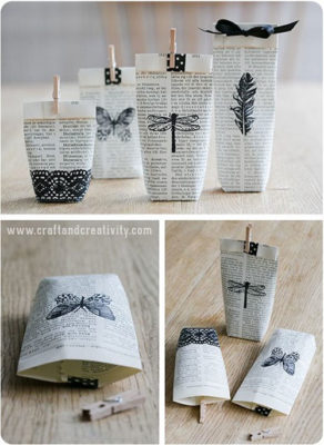 bolsas de amor para san valentin con papel de periodico